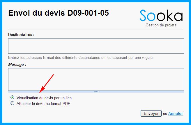 L'option qui permet l'envoi sous la forme d'un fichier PDF
